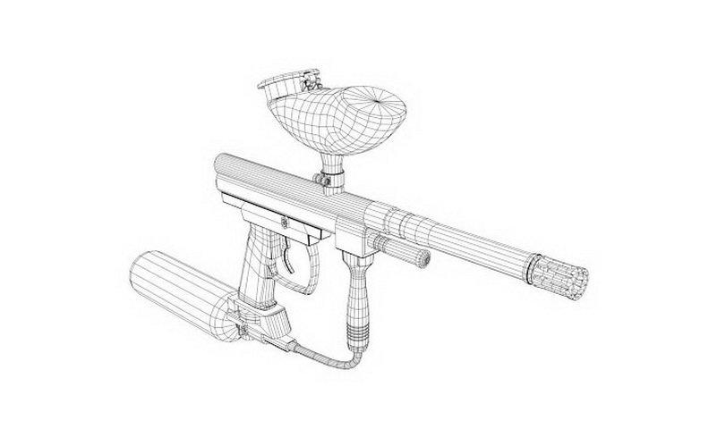 sketsa paintball gun